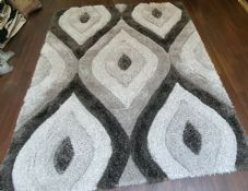 Rugs Approx 7x5Ft 160CMX210CM Carved 3D Design Quality Grey-Dark Grey Rugs Woven